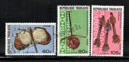 Togo 1977 Yvert Airmail 302-04, Music. African Instruments, Atopani, Violin & Flutes - MNH - Togo (1960-...)