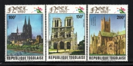Togo 1980 Yvert Airmail 436-38, Christmas. Architecture. European Cathedrals - MNH - Togo (1960-...)