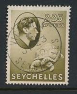 SEYCHELLES, 1938 2.25 Rupees Olive Fine, Cat £19 - Seychelles (...-1976)