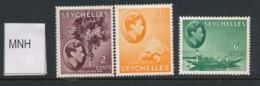 SEYCHELLES, 1938 2c, 3c, 6c Green MNH - Seychellen (...-1976)
