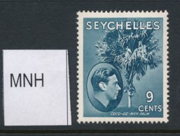 SEYCHELLES, 1938 9c Dull Blue (ordinary Paper) MNH, SG138ac, Cat £8 - Seychellen (...-1976)