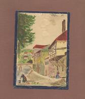 Aquarelle Sur Papier 12x17 Cm Vézère Sur Montignac 24 Dordogne Signée , Signature A Définir - Watercolours