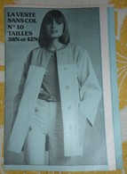 Patron N° 10 Veste Sans Col  (années 1970) Revue Femmes D'Aujourd'hui - Patterns