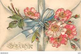 Fantaisie - N°61983 - Souvenir - Fleurs Avec Un Ruban - Carte Gaufrée - Autres