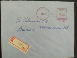 Belgium - Registered Meter Franking Cover 1968 Asse P104 EMA - Franking Machines