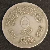 EGYPTE - EGYPT - 5 PIASTRES 1972 ( 1392 ) - KM A428 - Egypte