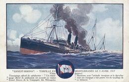 """Art Card Ship Postal Service  """" Ernest Simons """" Messageries Maritimes Born In Diekirch . Sunk April 3, 1917. Sandy Hook - Diekirch"""