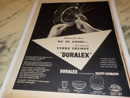 ANCIENNE PUBLICITE VERRE TREMPE DURALEX 1956 - Publicidad