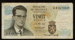 België / Belgique / Roi Baudouin / Koning Boudewijn / 1964 / Vingt Francs / Twintig Frank / 2 Z 3179047 / 2 Scans - [ 2] 1831-...: Belg. Königreich