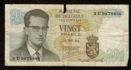 België / Belgique / Roi Baudouin / Koning Boudewijn / 1964 / Vingt Francs / Twintig Frank / 3 U 9878886 / 2 Scans - [ 2] 1831-...: Belg. Königreich