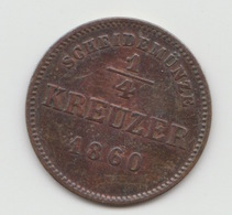 1/4 KREUZER SCHWARZBOURG RUDOLSTADT 1860 - [ 1] …-1871 : German States
