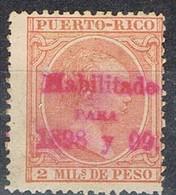 Sello 2 Mils PUERTO RICO, Colonia Española, Habilitado  1898 Y 1899 * - Puerto Rico
