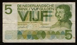 Nederland / De Nederlandse Bank / Vijf Gulden / 5 Gulden / Amsterdam 26 April 1966 / 2 BL 009725 / 2 Scans - [2] 1815-… : Kingdom Of The Netherlands