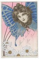 Illustrateur Art Nouveau Femme Papillon 1904 - 1900-1949