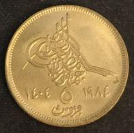 EGYPTE - EGYPT - 5 PIASTRES 1984 ( 1404 ) - KM 555.2 - Egypte