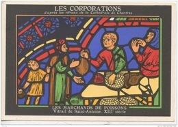 METIERS - LES CORPORATIONS LES MARCHANDS DE POISSONS VITRAIL DE SAINT ANTOINE- CHROMO PUB ASPIRINE/ - Old Paper