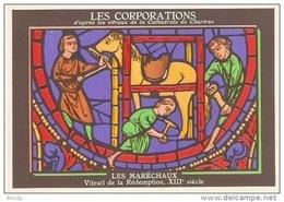 METIERS - LES CORPORATIONS LES MARECHAUX -  VITRAIL DE LA REDEMPTION- CHROMO PUB ASPIRINE/ - Old Paper