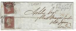 GRANDE BRETAGNE 1849:  LSC De Brighton Pour Londres Avec 2x Y&T 3 (tarif De 2p. Pour Double Poids) - 1840-1901 (Regina Victoria)