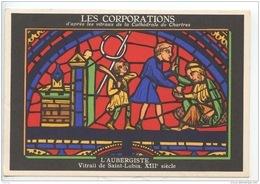 LES CORPORATIONS L'AUBERGISTE VITRAIL DE SAINT LUBIN- CHROMO PUB ASPIRINE/PATE GINGIVALE SPECIA - Old Paper