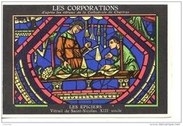 METIERS - LES CORPORATIONS LES EPICIERS - VITRAIL DE ST NICOLAS - CHROMO PUB ASPIRINE/ - Old Paper
