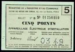 """Coupon D'achat 1949 """" Cinq Points Appareillage Electrique D'installation """" Carte Ravitaillement L - Ficción & Especímenes"""