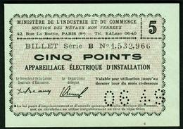 """Coupon D'achat 1949 """" Cinq Points Appareillage Electrique D'installation """" Carte Ravitaillement M - Ficción & Especímenes"""