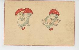 COCHONS - PIG - Jolie Carte Fantaisie Champignons Humanisés Avec Cochons - Cochons