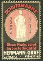 """Leipzig Sachsen ~1913 """" Hermann Graf Schutzmarke Peterstr 21 """" Vignette Cinderella Reklamemarke - Erinnophilie"""