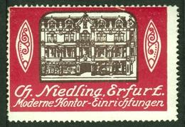 """Erfurt Thüringen ~1913 """" Ch.Niedling Moderne Kontoreinrichtungen """" Vignette Cinderella Reklamemarke - Erinnophilie"""