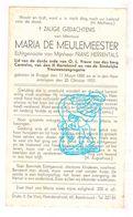 DP Maria De Meulemeester ° Brugge 1880 † 1937 X Frans Herrentals - Images Religieuses