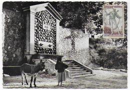 Cpsm Bon Etat ,10.5x15cm ,  Bocognano, La Fontaine Rustique Timbre , Courrier Au Verso,  Femme Avec âne - Autres Communes