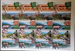 135.INDIA 2007 STAMP SHEET NATIONAL PARKS OF INDIA,TIGER, ELEPHANT,RHINO. MNH - Blocks & Kleinbögen