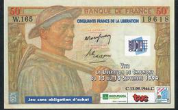 FRANCE NLP 50 FRANCS 1994 LIBERATION DE CHAUMONT FANTASY NOTE UNC. - Specimen