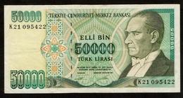 Turkije / Turkey / 50 000 Lira / Banknote 1970 (1989) / ATATÜRK / Elli Bin / Türk Lirasi / K21 095422 / 2 Scans - Turkey