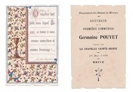 Brive, 1re Communion De Germaine Pouyet, 1906, Pensionnat Des Dames De Nevers, Citation Saint Augustin, Enluminure - Images Religieuses