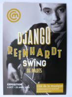 JAZZ / GUITARISTE - Django REINHARDT Avec Guitare - Carte Publicitaire Exposition - Musique Et Musiciens