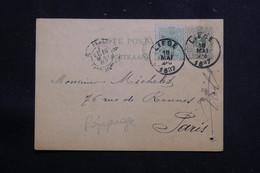 BELGIQUE - Entier Postal Commercial ( Repiquage Au Dos ) + Complément De Liege Pour Paris En 1887 - L 61281 - Postales [1871-09]