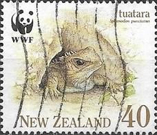 NEW ZEALAND 1991 Endangered Species. The Tuatara - 40c - Tuatara In Crevice FU - Nueva Zelanda