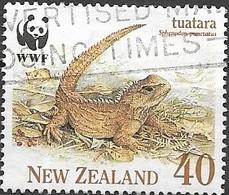 NEW ZEALAND 1991 Endangered Species. The Tuatara -  40c - Tuatara In Dead Leaves AVU - Nueva Zelanda