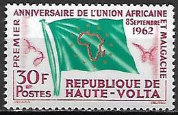 HAUTE VOLTA   -   1962  .  Y&T N° 107 *.  Union Africaine Et Malgache  /  Drapeau. - Alto Volta (1958-1984)