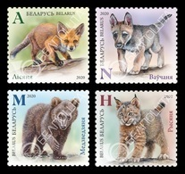 Belarus 2020 Mih. 1328/31 Fauna. Wild Baby Animals. Fox. Wolf. Bear. Lynx MNH ** - Bielorrusia