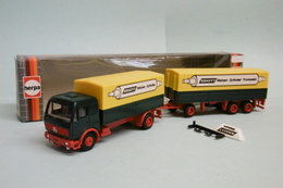 Herpa - Camion + Remorque MERCEDES Krafft BO Réf. 811092 HO 1/87 - Baanvoertuigen