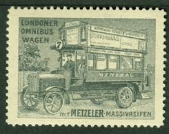 """München Metzeler ~1920 """" Londoner Omnibuswagen Mit M.Massivreifen """" Vignette Cinderella Reklamemarke - Erinnophilie"""