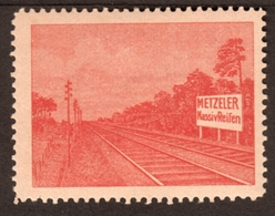 """München Metzeler ~1920 """" Gleisfahrzeuge Mit M.Massivreifen """" Vignette Cinderella Reklamemarke - Erinnophilie"""