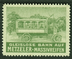 """München Metzeler ~1920 """" Gleislose Bahn Mit Metzeler Massivreifen """" Vignette Cinderella Reklamemarke - Erinnophilie"""