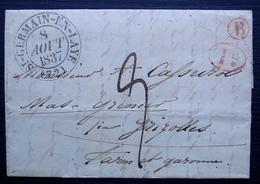 Saint-Germain-en-Laye 1837 Boîte Rurale B En Rouge Et Décime Rural, Pour Mas Grenier Par Grizolles - Postmark Collection (Covers)