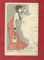 CPA -  La Paresse    - Illustrateurs , Illustrateur  Lucien Robert  -  ( Femme , Mandoline ) - Robert