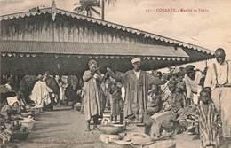 Guinée Française Conakry Le Marché De Timbo Cpa Carte Animée + Timbre Cachet Conakry 1914 - Frans Guinee