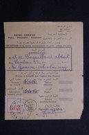 MAROC - Récépissé De Kasba Tadla Pour La France D'un Envoi Recommandé Ou En Valeurs Déclarées En 1957 - L 61295 - Marokko (1956-...)