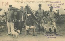 CINQ BEAUX CACHETS Sur CPA  En FM - GROUPE DE SOUS OFFICIERS COLONIAUX Camp DAR-DELIBAGH à FEZ - CAMPAGNE DU MAROC -1914 - Tarjetas De Franquicia Militare